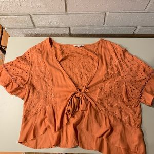 Orange American Eagle Wrap Top